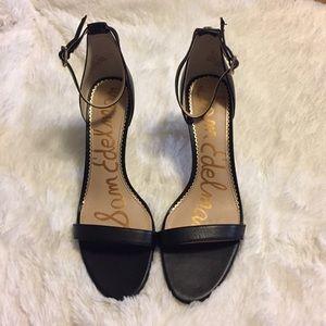 Sam Edelman Patti Black Leather Ankle Strap Heels